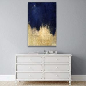 Oliver Gal gold and navy starry night canvas